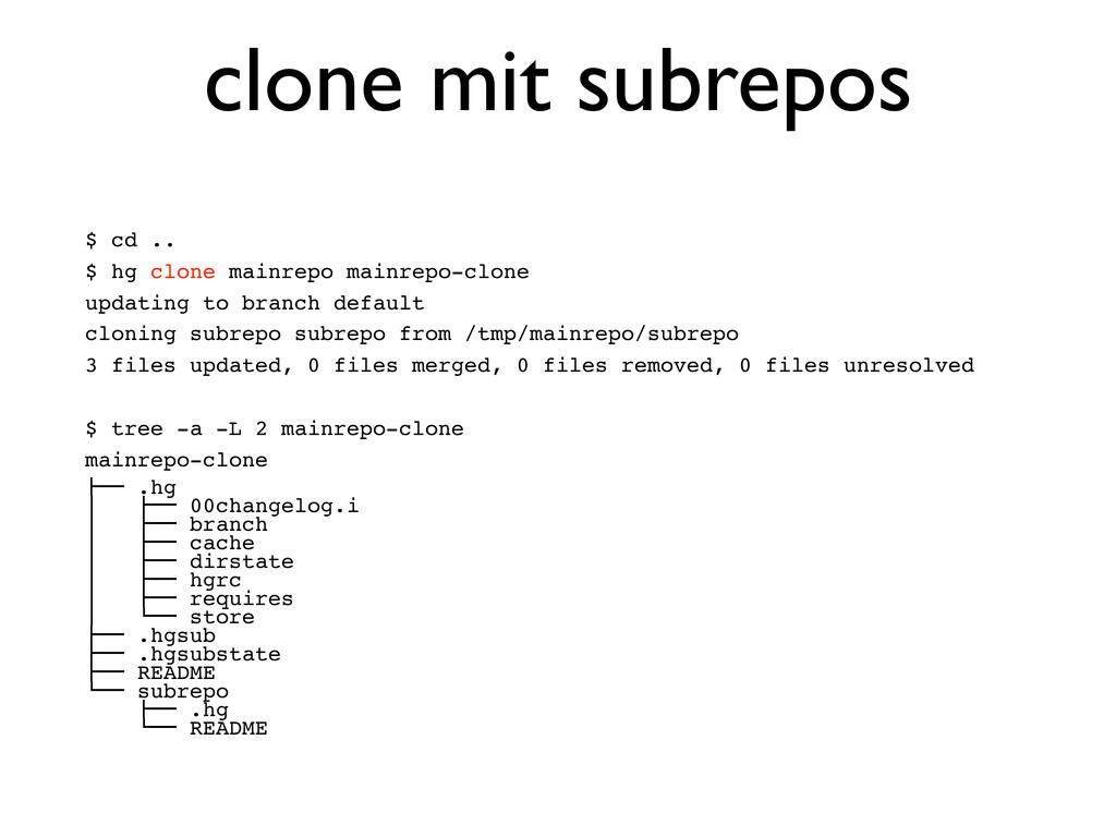 $ cd .. $ hg clone mainrepo mainrepo-clone upda...