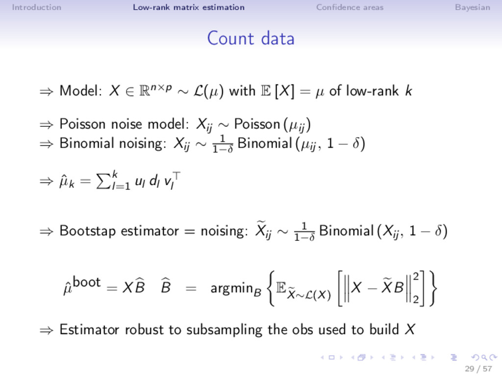Introduction Low-rank matrix estimation Confiden...