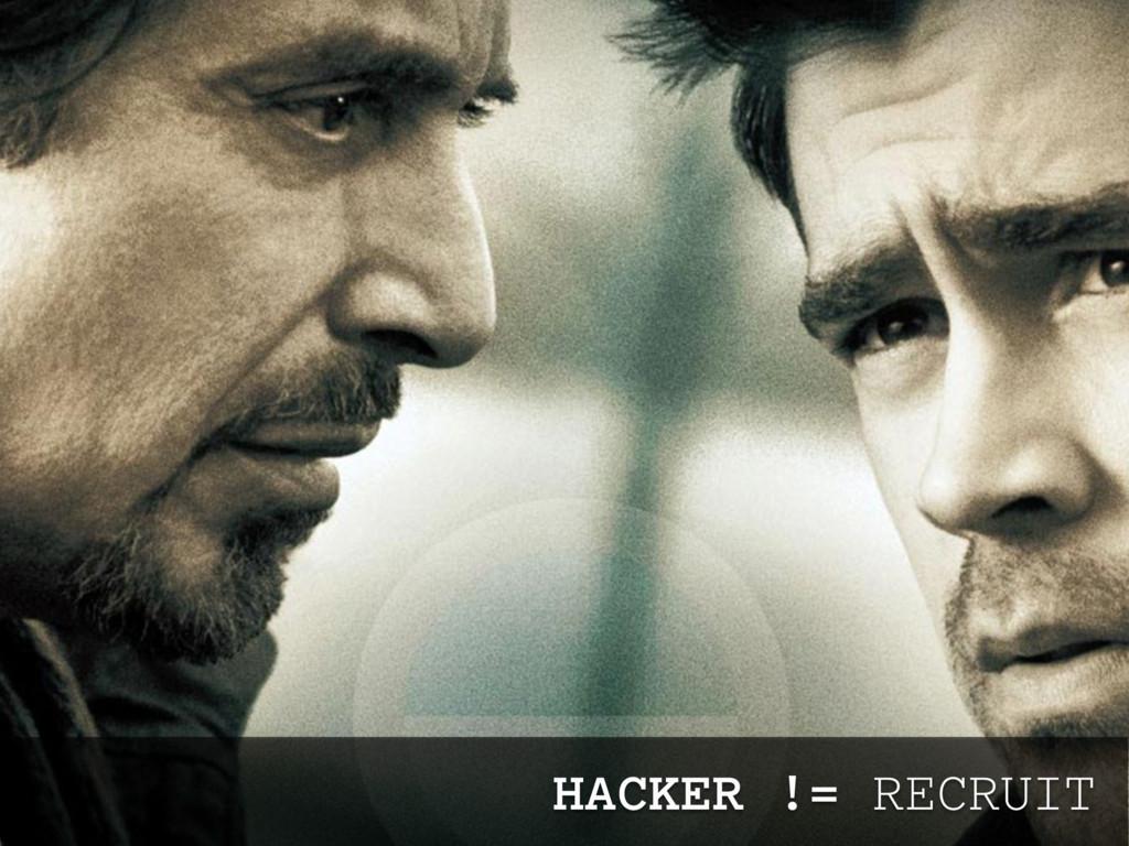 HACKER != RECRUIT