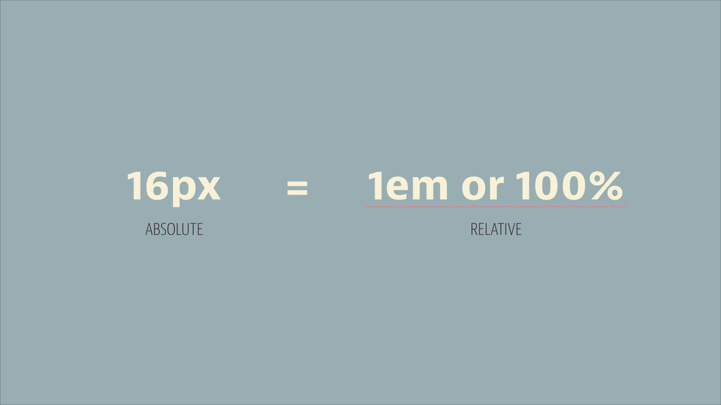 16px ABSOLUTE 1em or 100% RELATIVE =