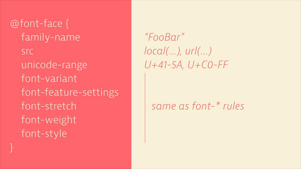@font-face { family-name src unicode-range font...
