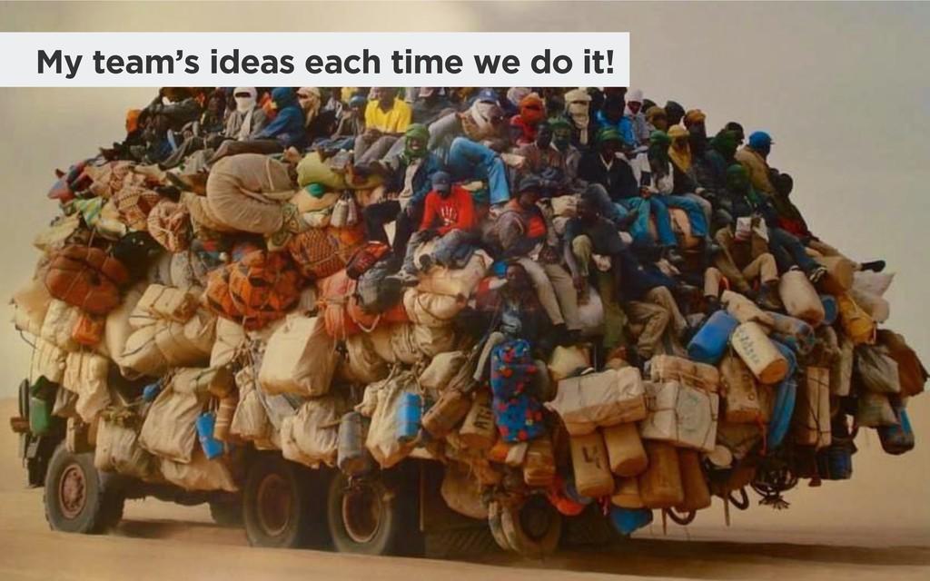 My team's ideas each time we do it!