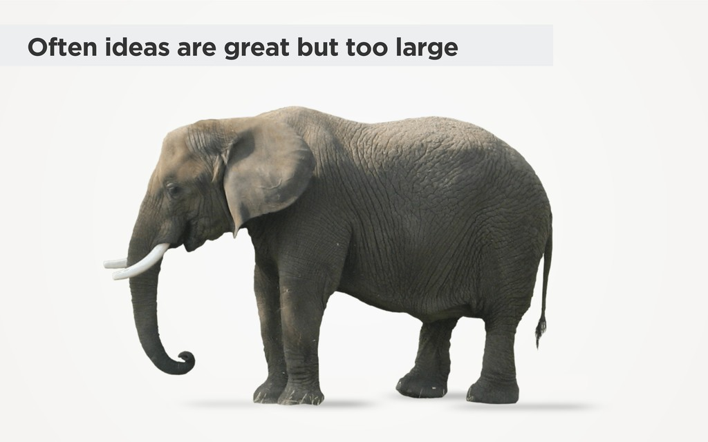 Often ideas are great but too large