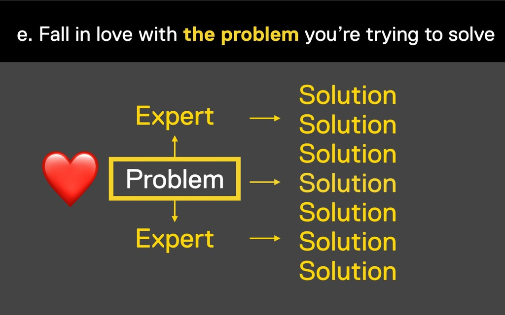 e. Fall in love with the problem you're trying ...