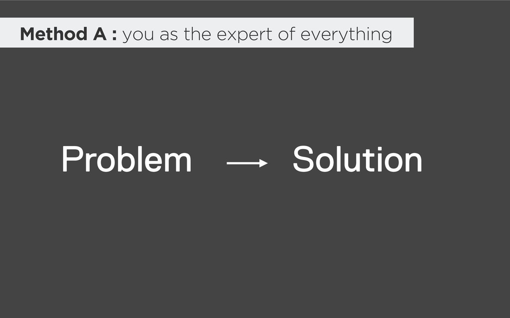 Method A : you as the expert of everything Solu...