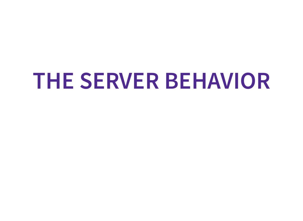 THE SERVER BEHAVIOR
