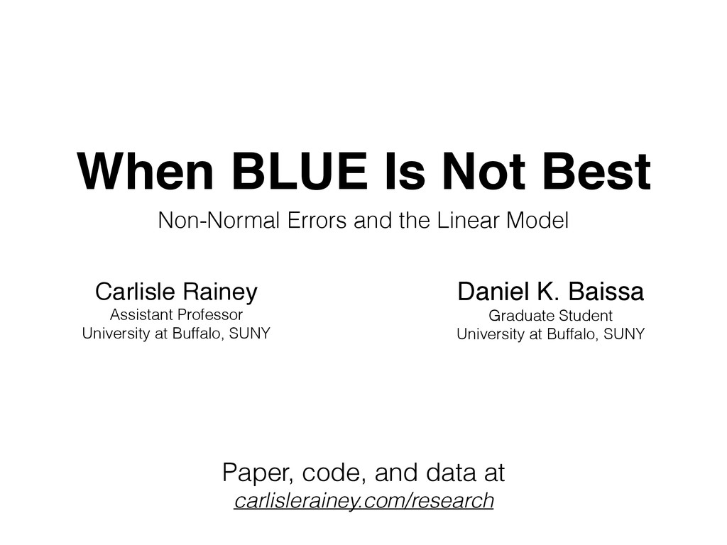 When BLUE Is Not Best Non-Normal Errors and the...
