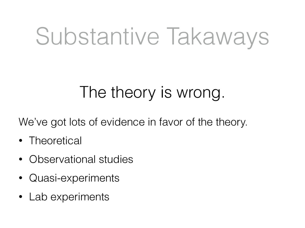 Substantive Takaways The theory is wrong. We've...