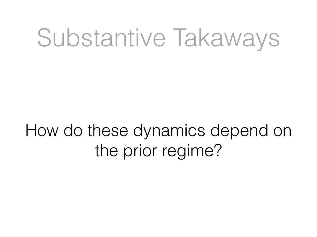 Substantive Takaways How do these dynamics depe...