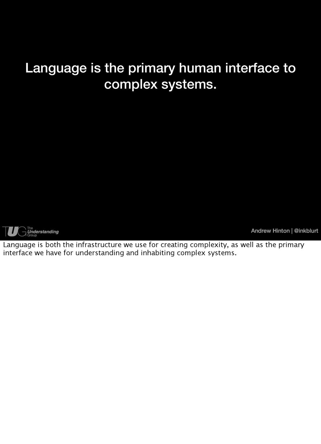 Andrew Hinton   @inkblurt Language is the prima...
