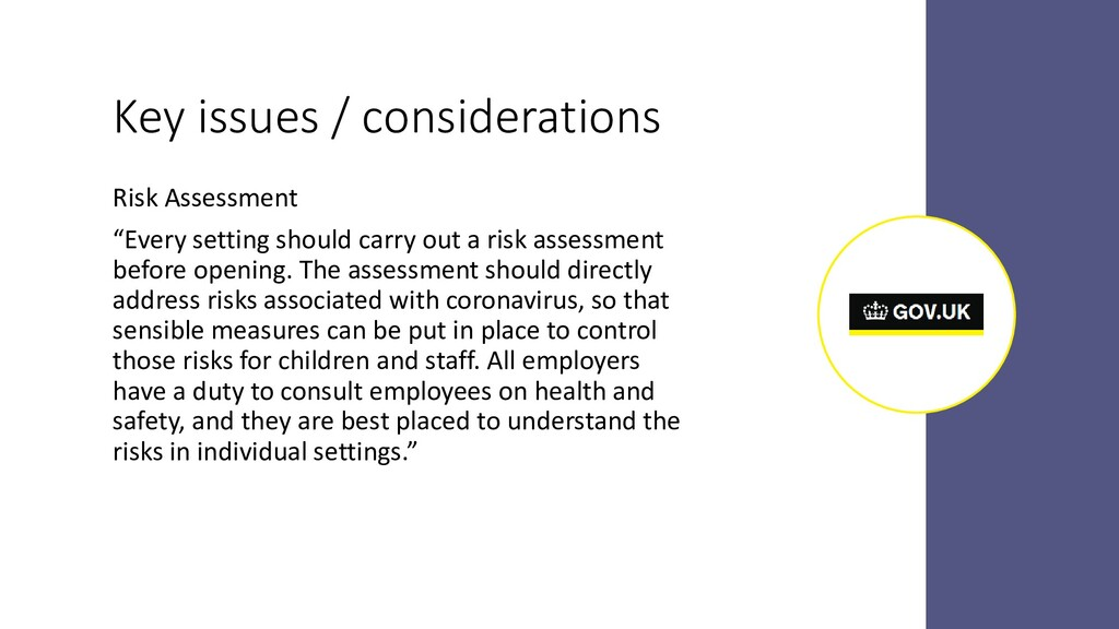 """Key issues / considerations Risk Assessment """"Ev..."""