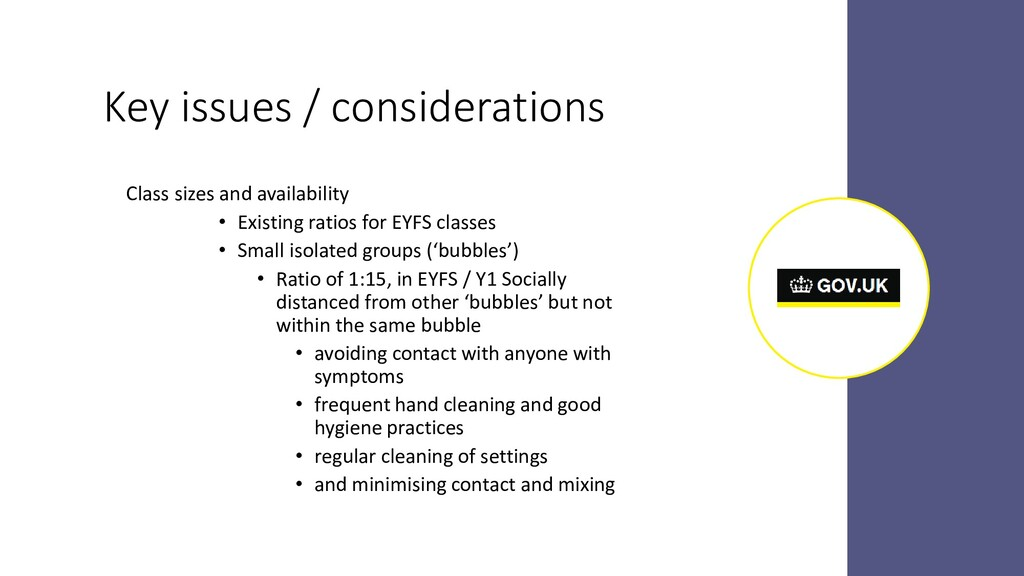 Key issues / considerations Class sizes and ava...