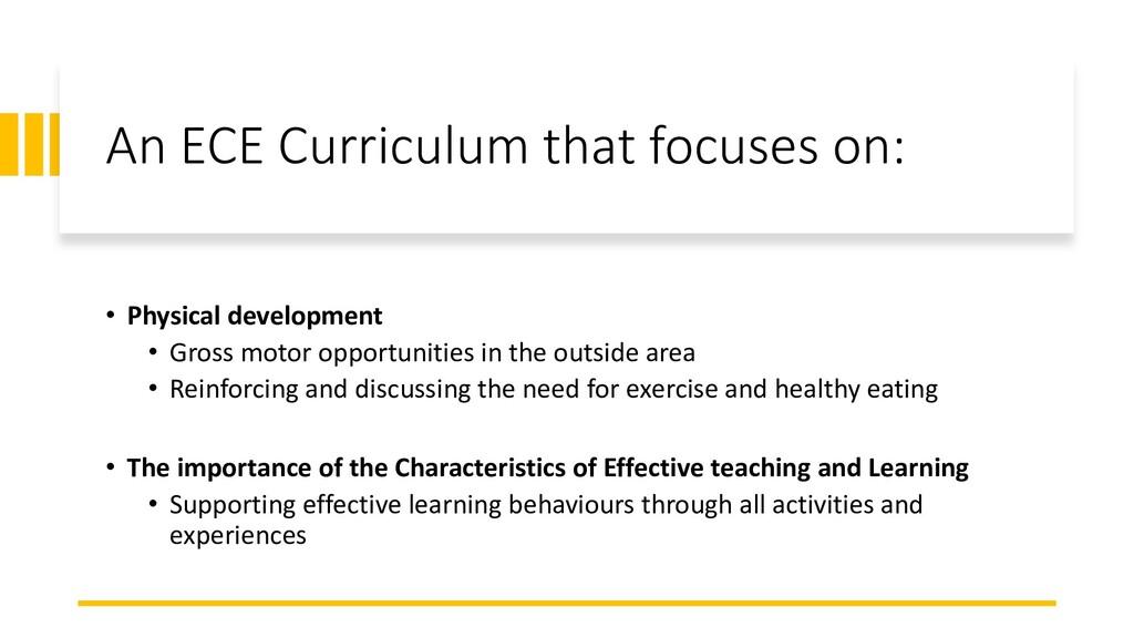 An ECE Curriculum that focuses on: • Physical d...