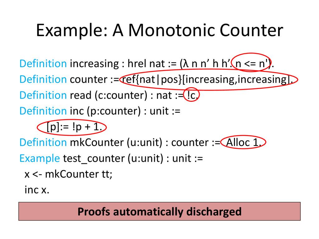 Example: A Monotonic Counter Definition increas...