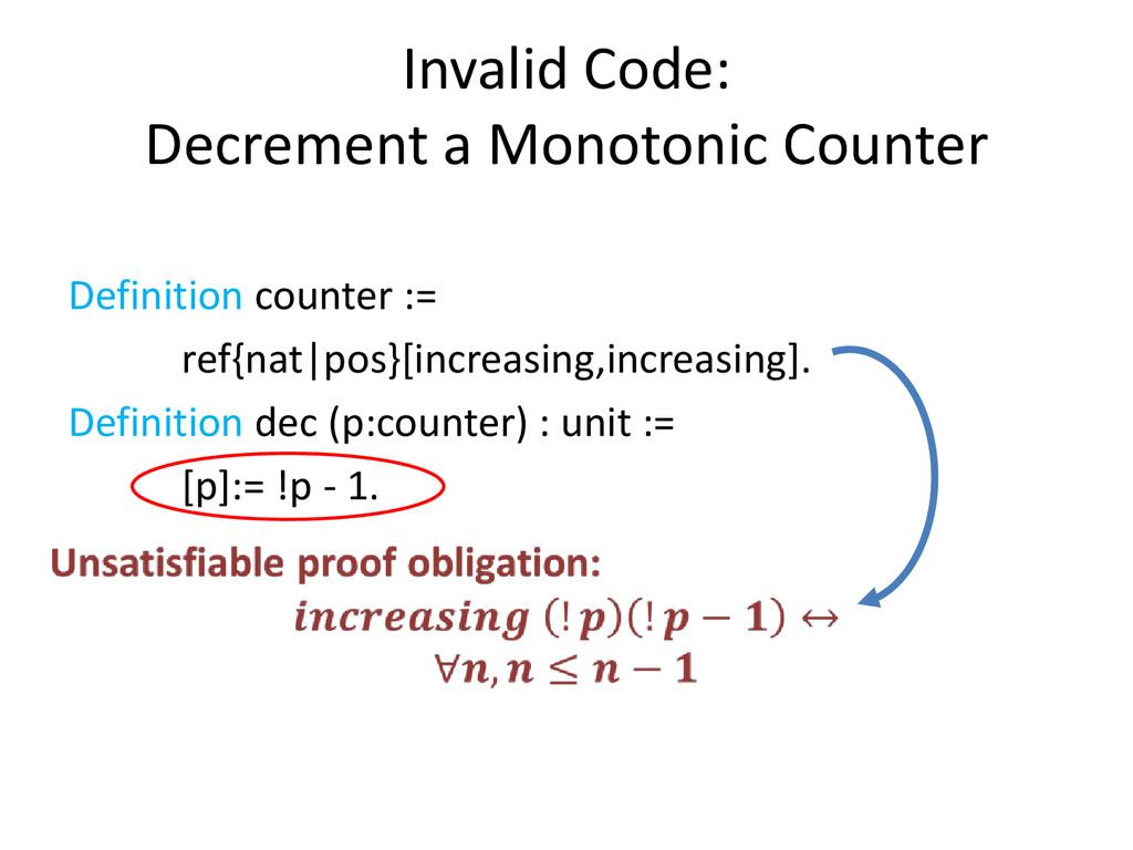 Invalid Code: Decrement a Monotonic Counter Def...