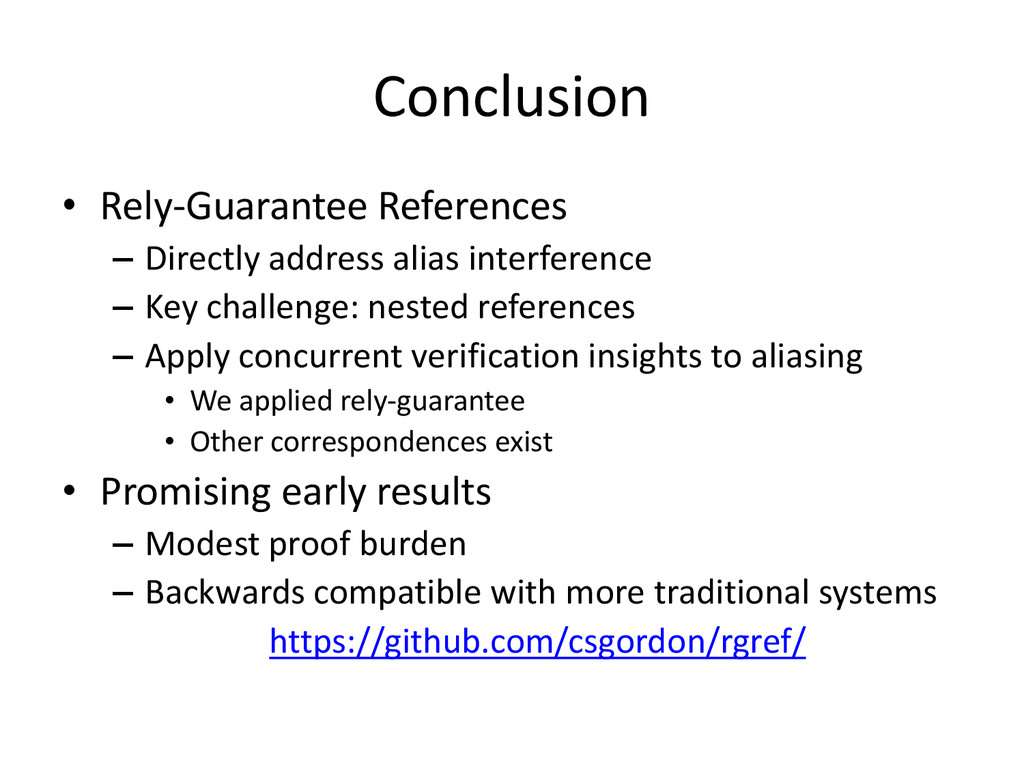 Conclusion • Rely-Guarantee References – Direct...