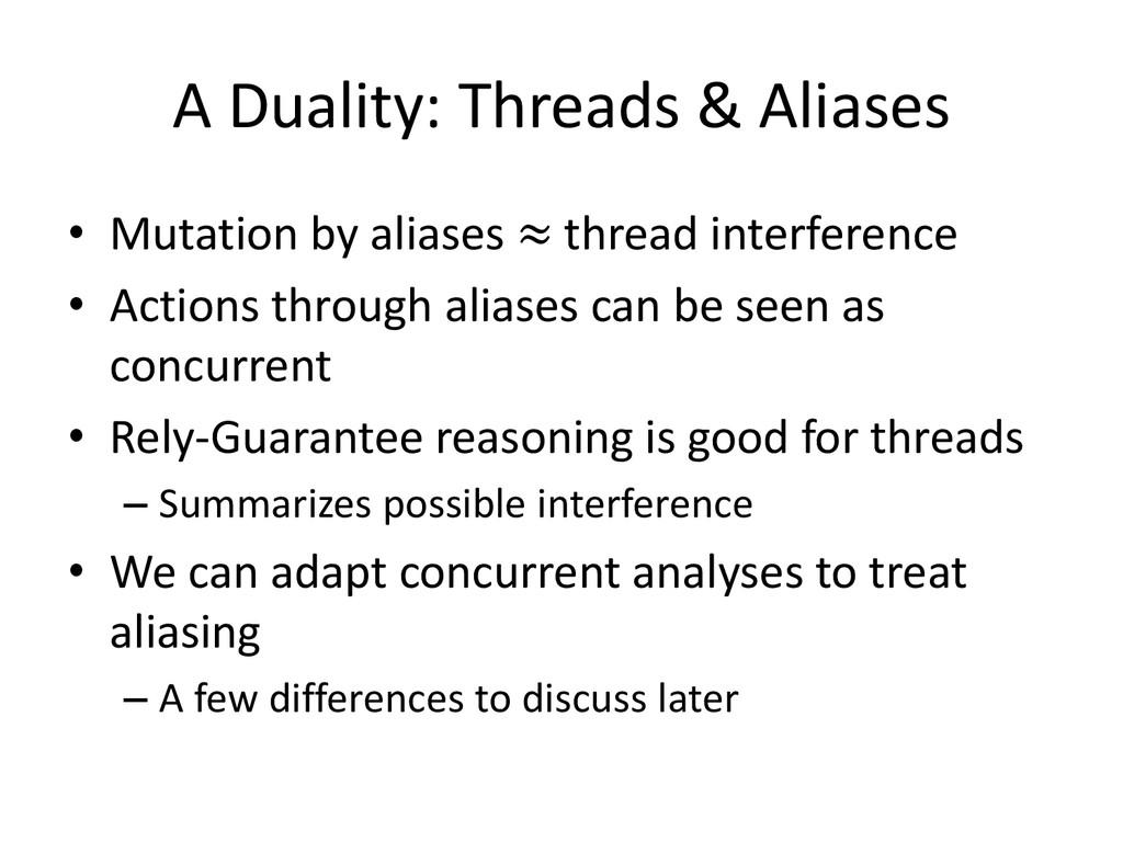A Duality: Threads & Aliases • Mutation by alia...