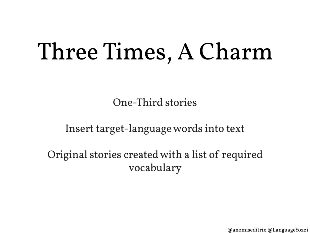 Three Times, A Charm One-Third stories