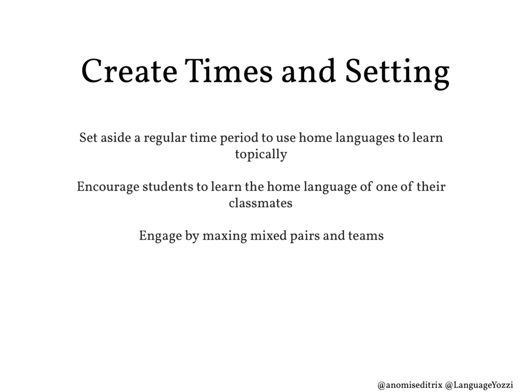 Create Times and Setting Set aside a regular ti...