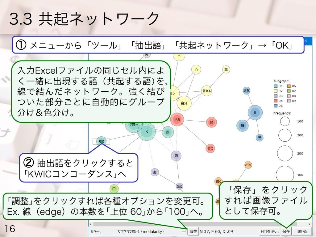 3.3 共起ネットワーク 16 ① メニューから「ツール」「抽出語」「共起ネットワーク」→「O...