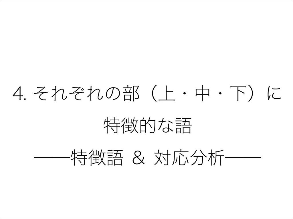 18 4. それぞれの部(上・中・下)に 特徴的な語 ――特徴語 & 対応分析――