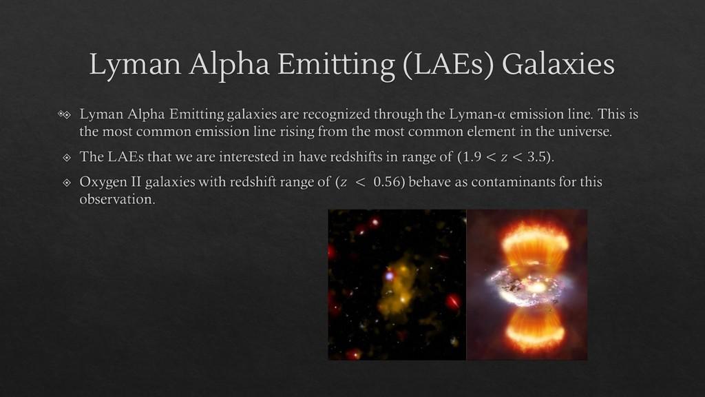 Lyman Alpha Emitting (LAEs) Galaxies ◈