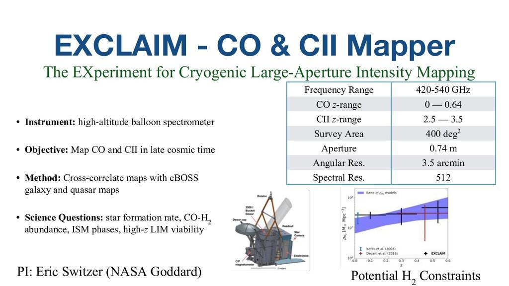 EXCLAIM - CO & CII Mapper • Instrument: high-al...