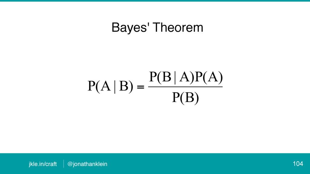 @jonathanklein jkle.in/craft 104 Bayes' Theorem