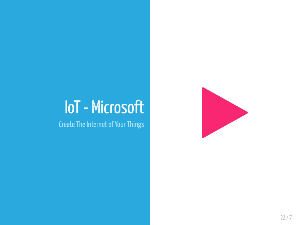22 / 71 IoT - Microsoft Create The Internet of ...
