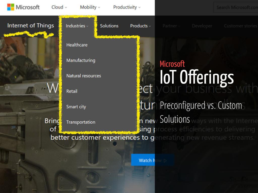 53 / 71 Microsoft IoT O erings Precon gured vs....