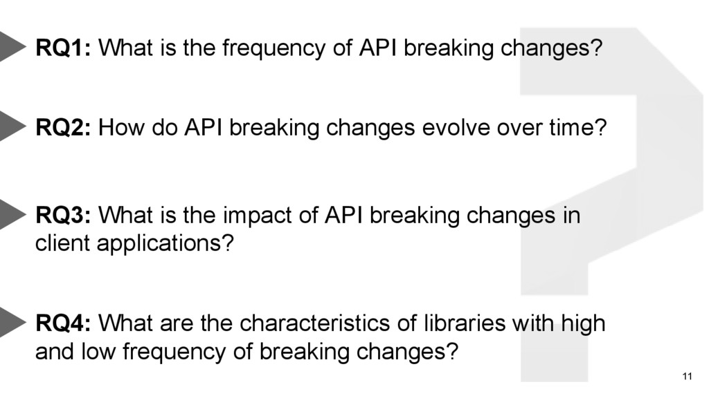 11 RQ1: What is the frequency of API breaking c...