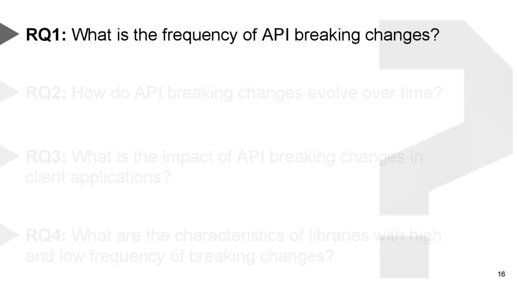 16 RQ1: What is the frequency of API breaking c...