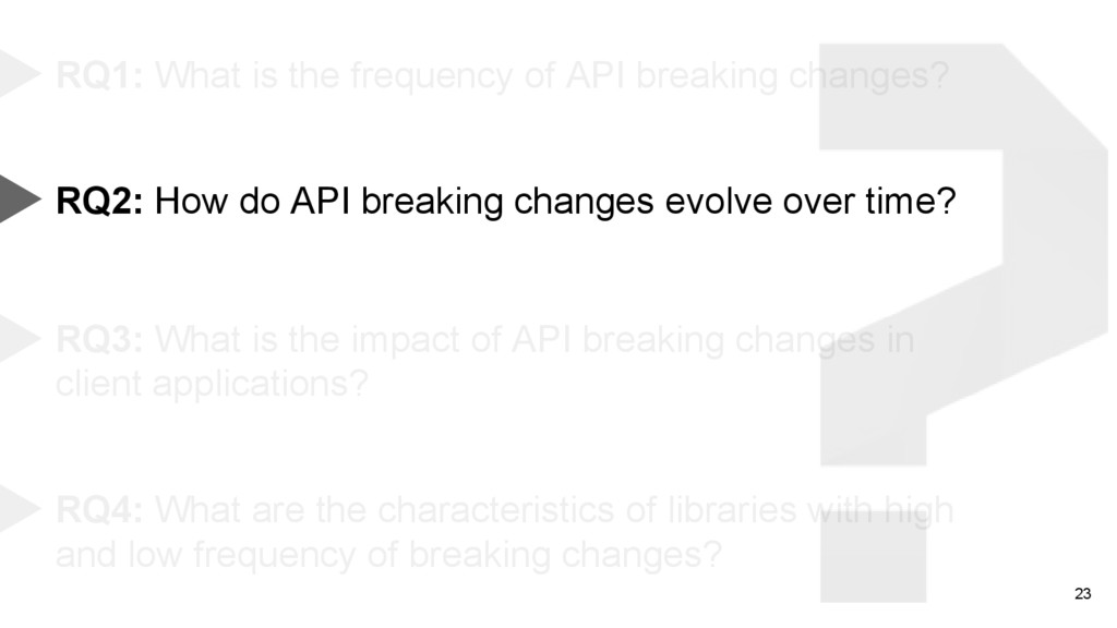 23 RQ1: What is the frequency of API breaking c...