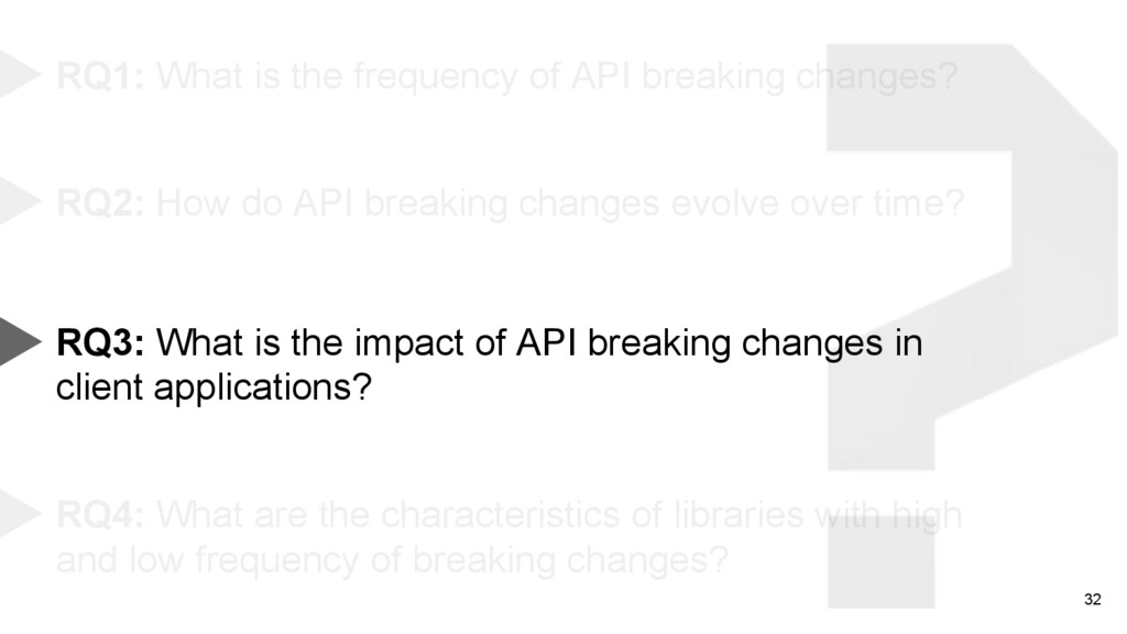 32 RQ1: What is the frequency of API breaking c...