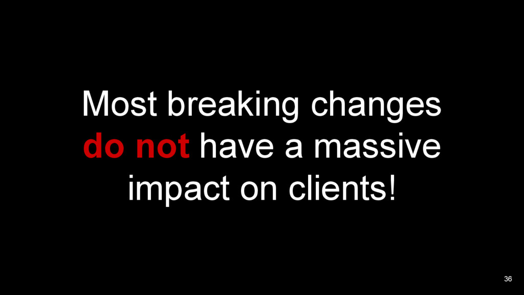 36 Most breaking changes do not have a massive ...