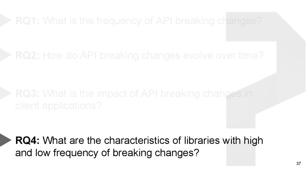 37 RQ1: What is the frequency of API breaking c...