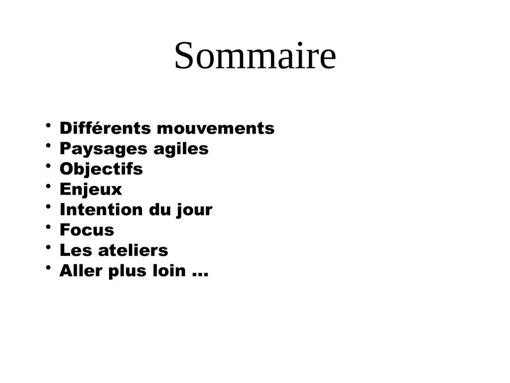 Sommaire • Différents mouvements • Paysages agi...