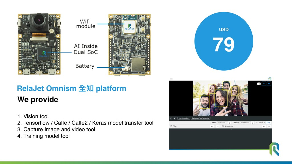 We provide 1. Vision tool 2. Tensorflow / Caffe...