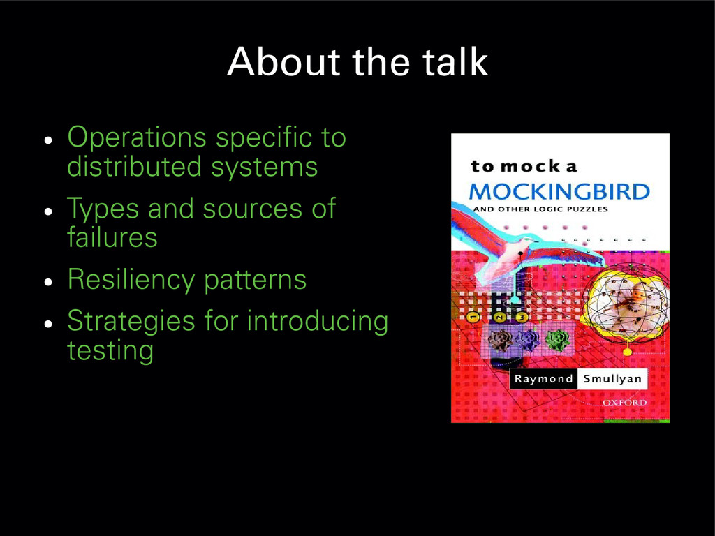 About the talk ● Operations specific to distrib...