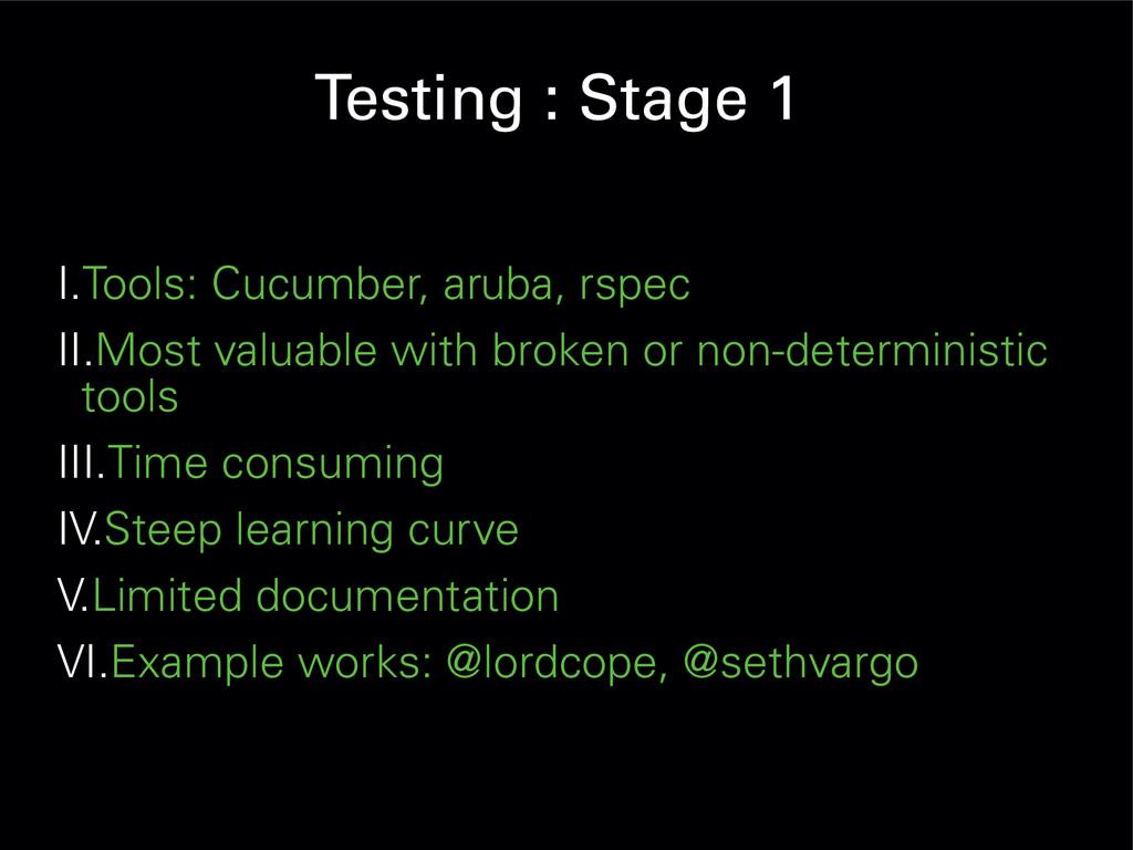 Testing : Stage 1 I.Tools: Cucumber, aruba, rsp...