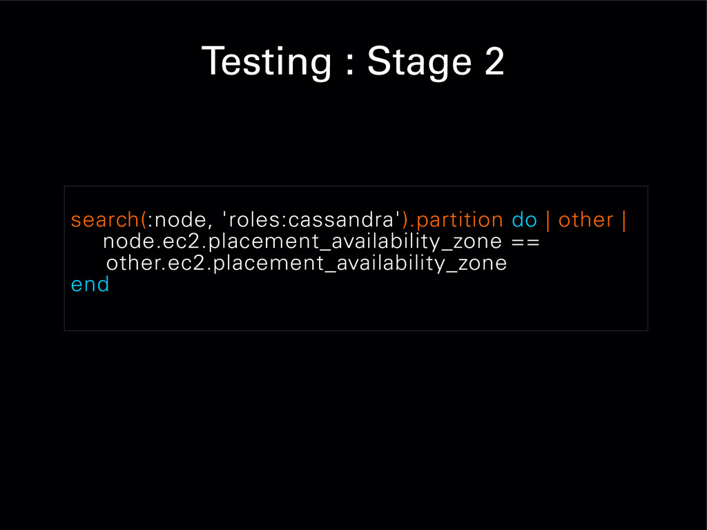 Testing : Stage 2 search(:node, 'roles:cassandr...