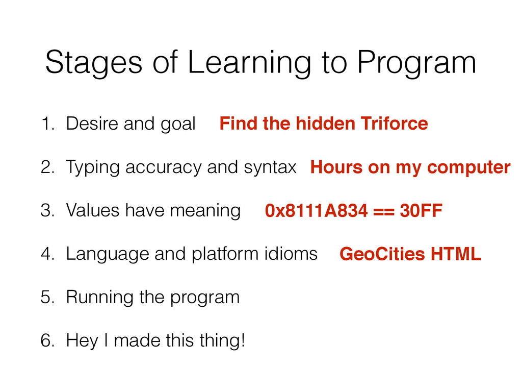 Stages of Learning to Program 1. Desire and goa...