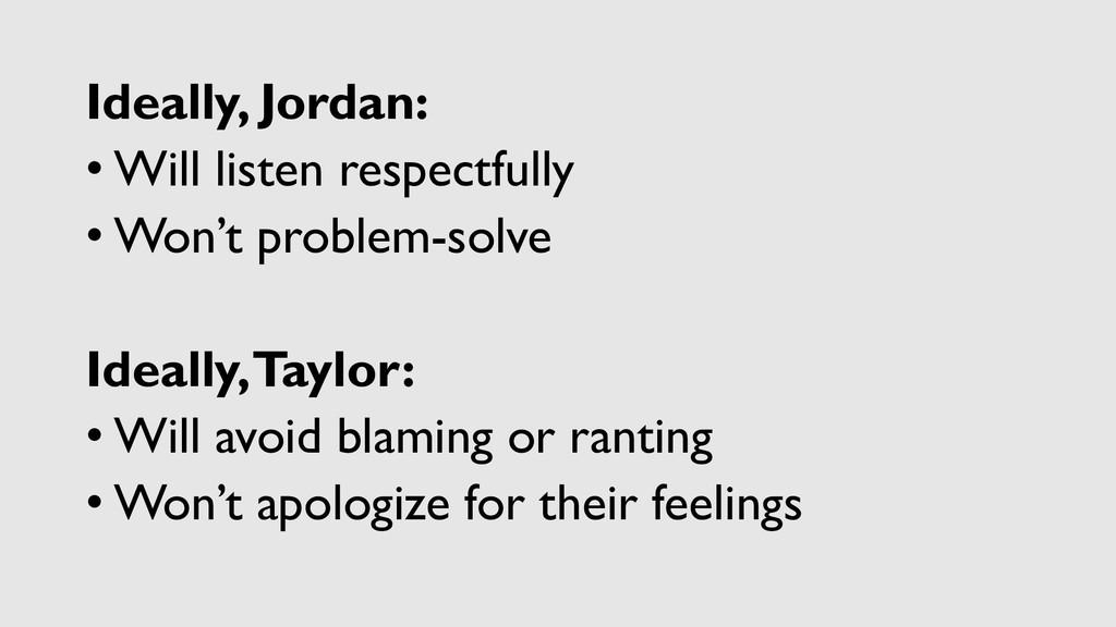 Ideally, Jordan: • Will listen respectfully • W...