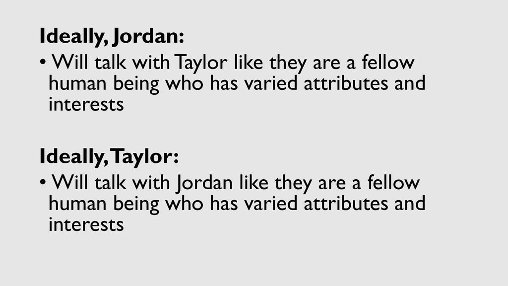 Ideally, Jordan: • Will talk with Taylor like t...
