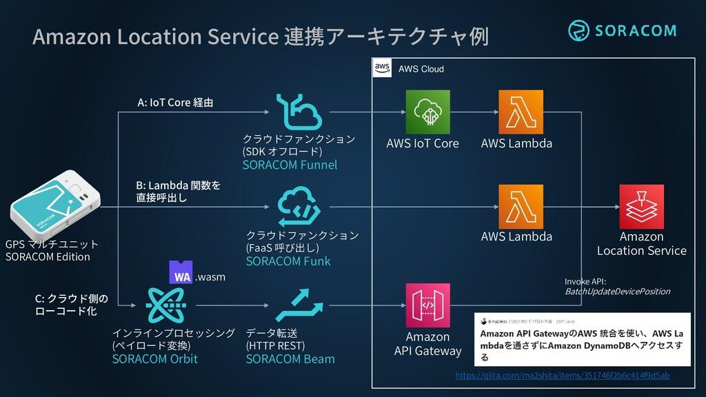 Amazon Location Service 連携アーキテクチャ例 GPS マルチユニット ...