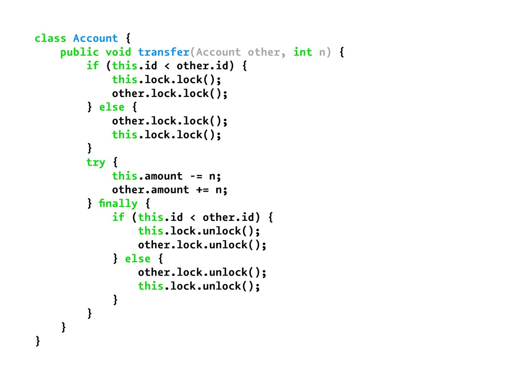 class Account { public void transfer(Account ot...