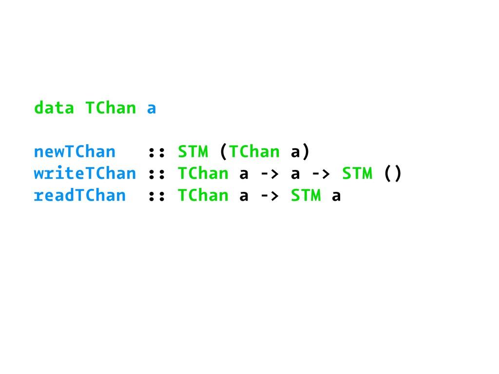 data TChan a newTChan :: STM (TChan a) writeTCh...