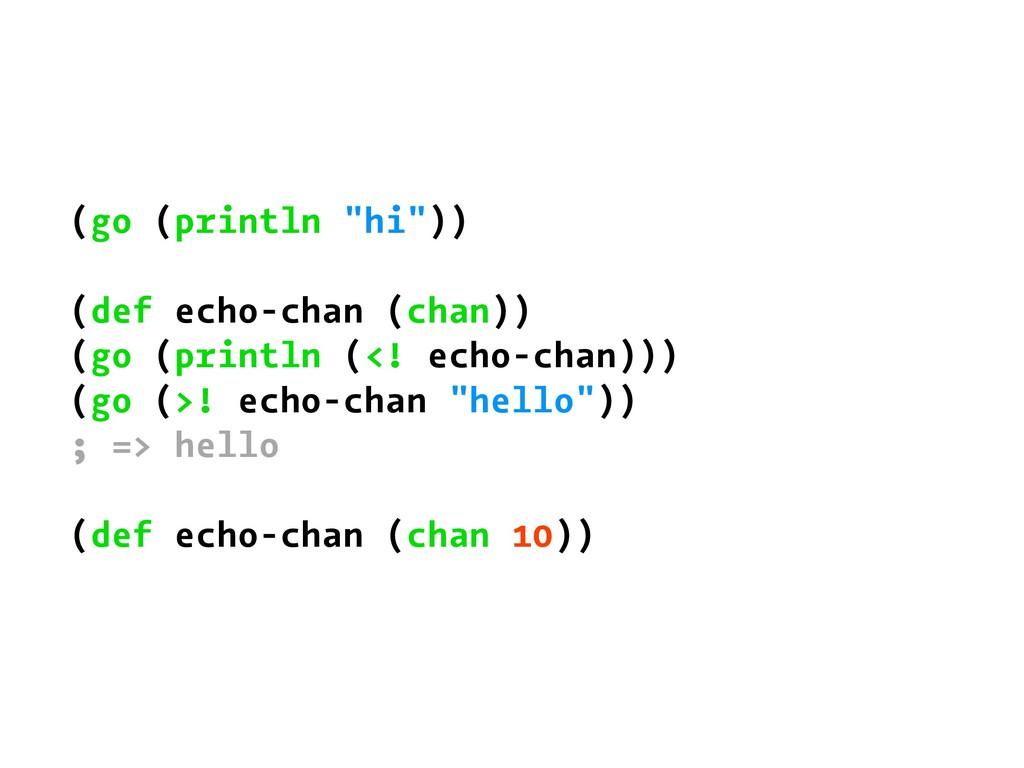 """(go (println """"hi"""")) (def echo-chan (chan)) (go ..."""