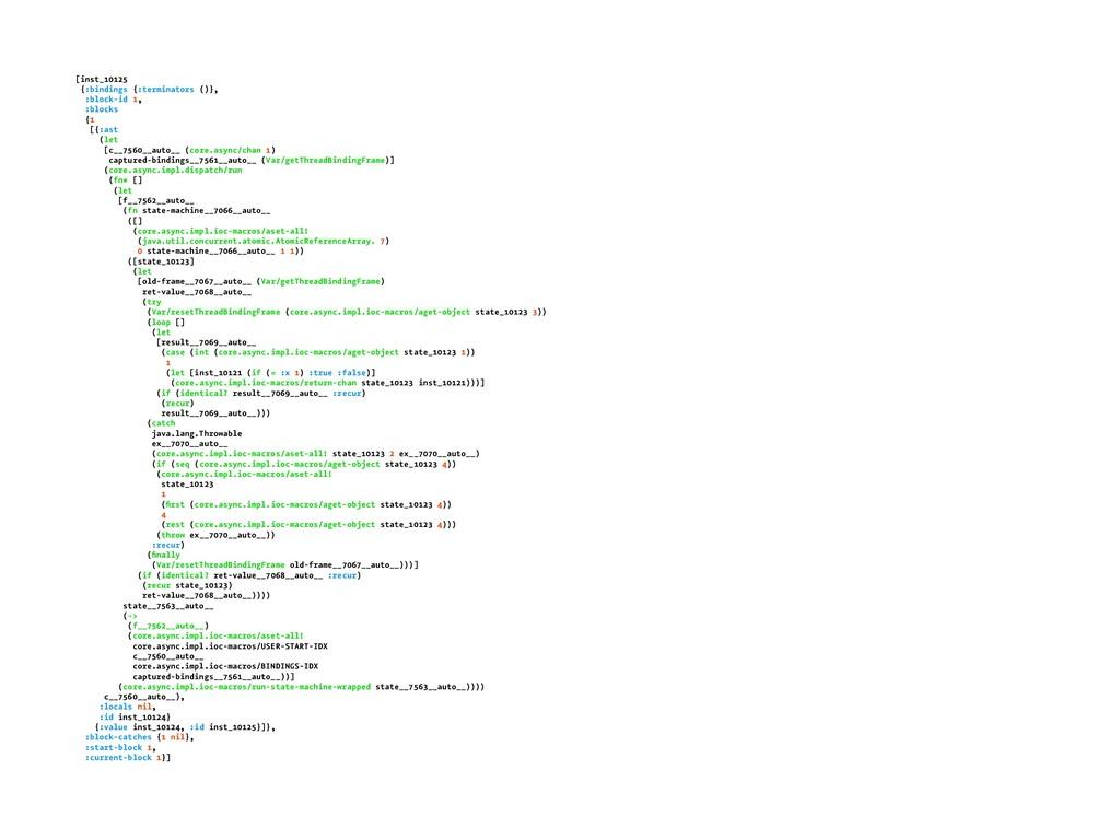 [inst_10125 {:bindings {:terminators ()}, :bloc...