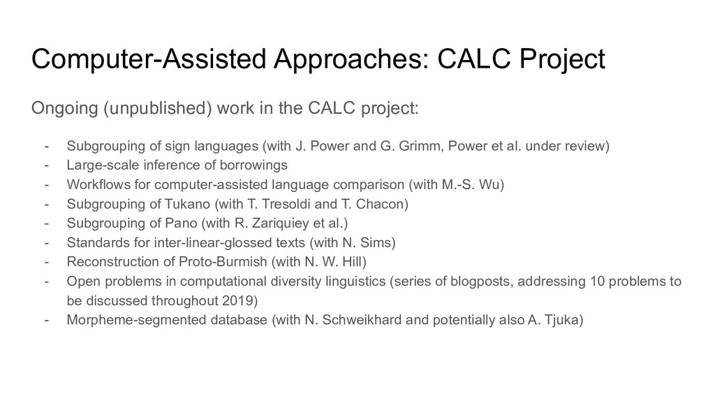 Computer-Assisted Approaches: CALC Project Ongo...